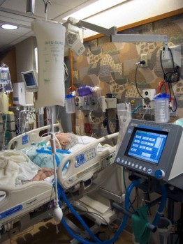 Elderly Woman in Intensive Care Unit